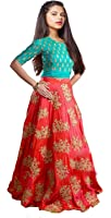 Myozz Girl's Party Wear Banglory Silk Semi Stitched Free Size Lehenga Choli, Salwar suit, Gown (Comfortable to 8-12 Year Girls)