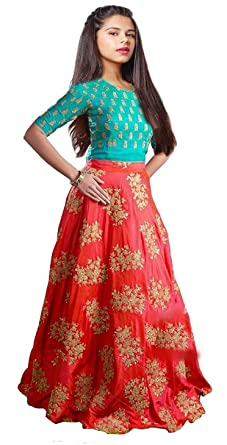 3ebe7f98f Myozz Women s Banglory Silk Embroidered Lehenga (Red