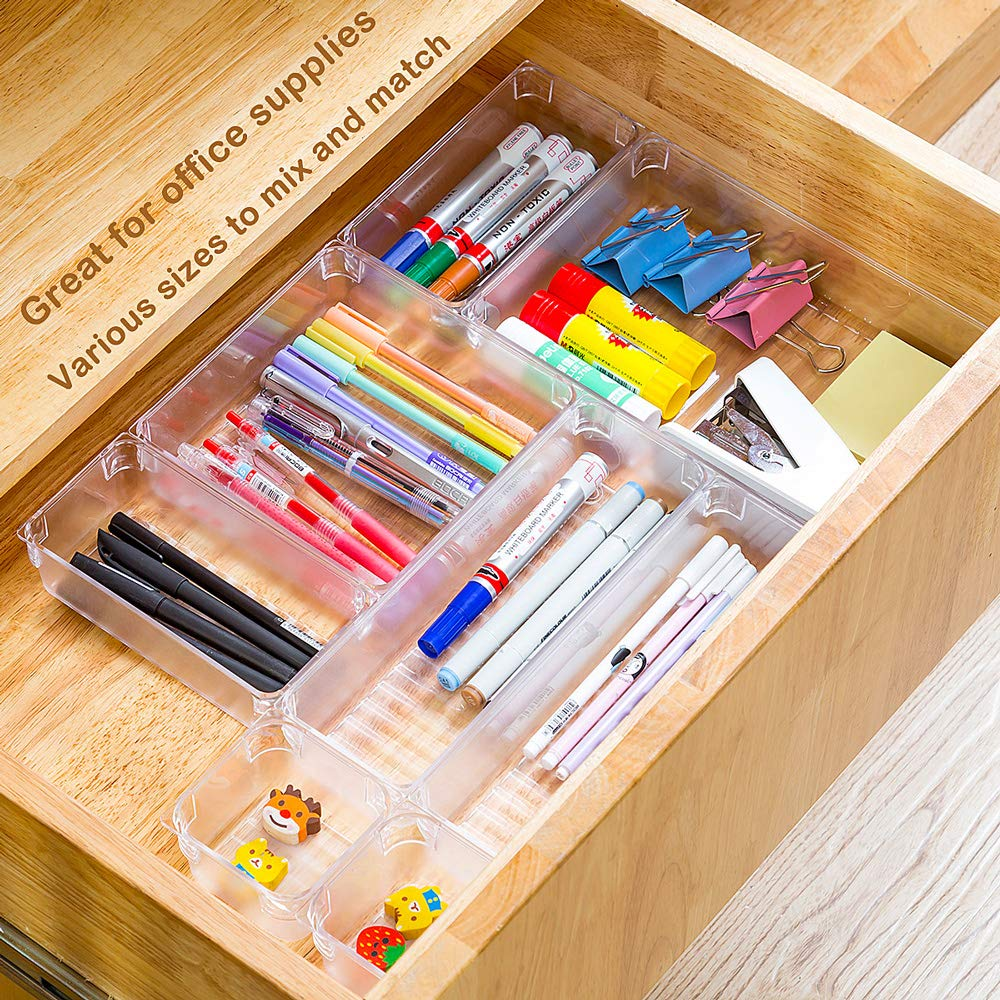 Kitchen Bathroom Makeup Drawer Dividers with 5-Size Large Capacity Bins 17 Trays for Bedroom Dresser Drawer Storage for Desk Drawers Trays Qozary 17 Pack Clear Plastic Drawer Organizer Containers