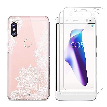 kaliter Funda BQ Aquaris X,Flor Blanca Suave Transparente TPU Gel Silicona Protectora Smartphone Carcasa para BQ Aquaris X/X Pro con Dos Cristal ...