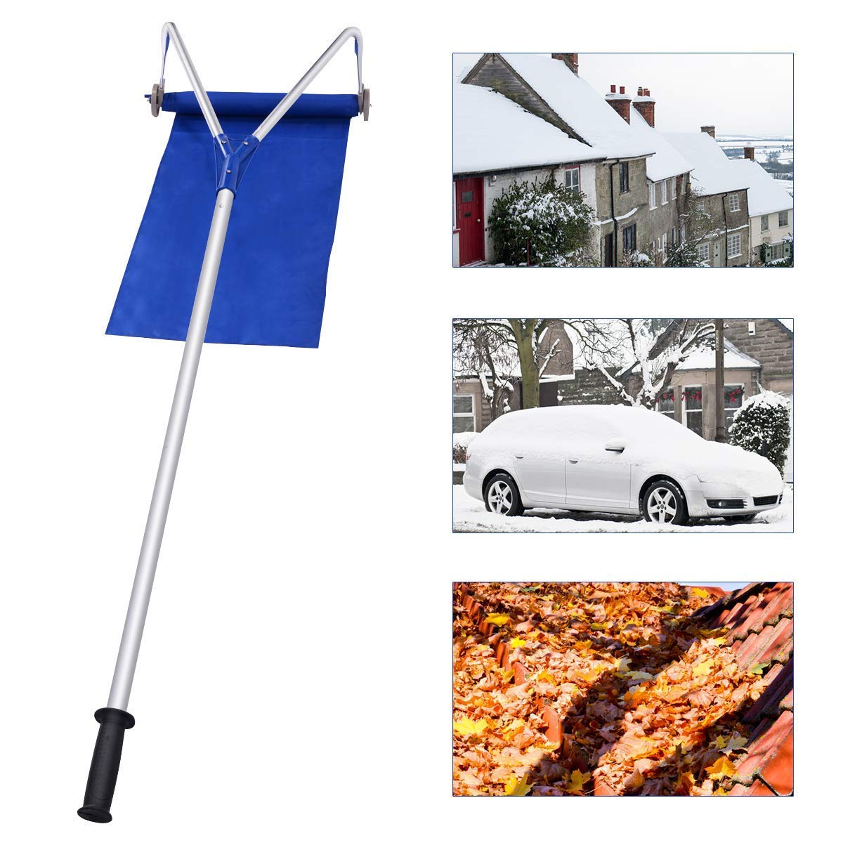 Cacoffay Adjustable Telescoping Snow Roof Rake Snow Rake Removal Tool with Lightweight Handle Poly Slide and Fiberglass Pole Construction for Relieve Your House of The Heavy Snow Relieves by Cacoffay