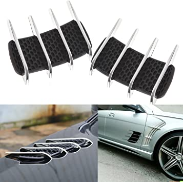 2Pcs Car Side Air Flow Intake Grille Vent Net Cover Decorative Sticker Universal