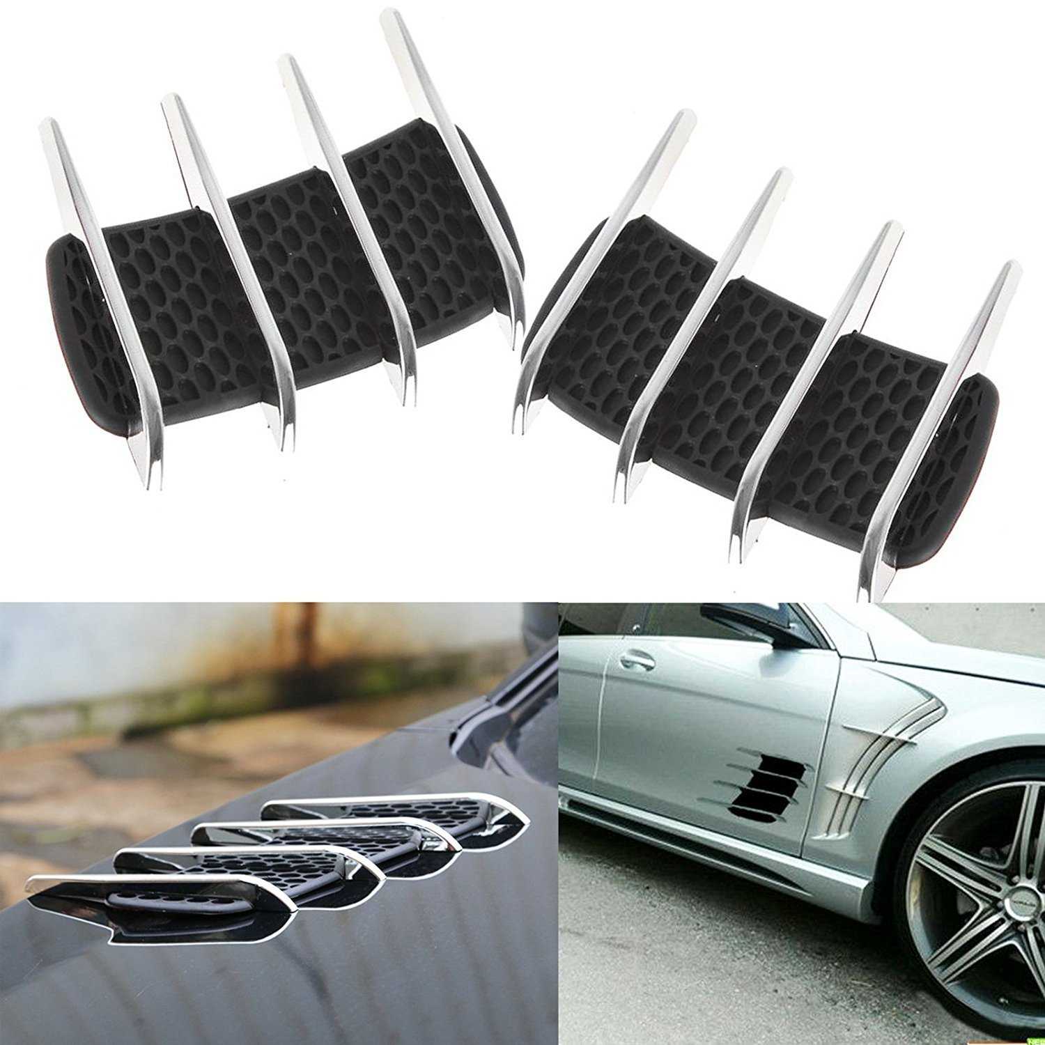 ZYHW 2Pcs Universal Self-adhesive Air Flow Vent Fender Side Decor Sticker Durable for Car