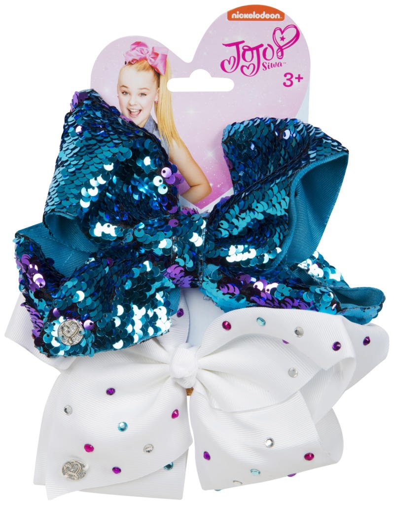 Official JoJo Siwa 2 Way Blue Sequin & White Diamante's 2 Pack Hair Clip Bow Set with Charms - worldofhoisery JJS-071