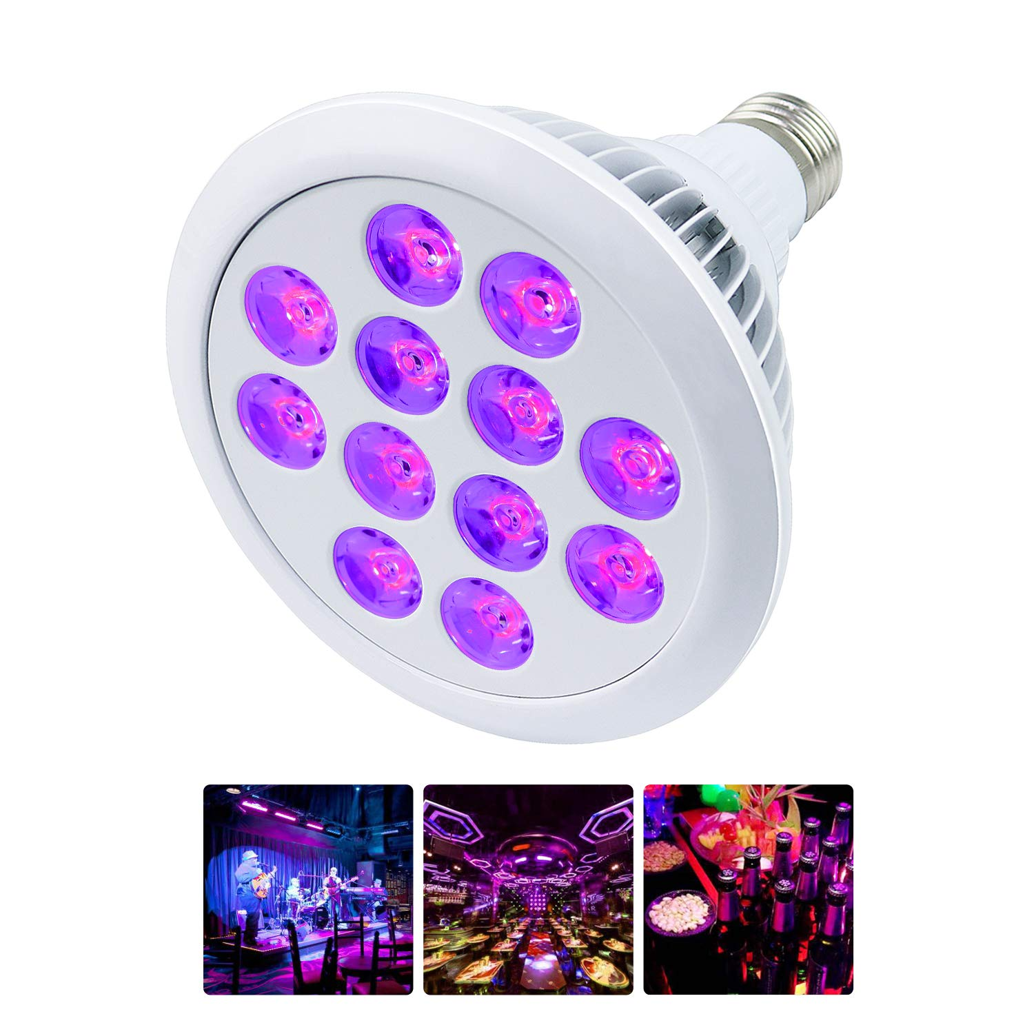 Black Light Bulb 24W 12 LED UV Bar E26 E27 PAR38 for Home Party Stage Neon Glow Blacklight Party Birthday Stage Body Paint Fluorescent Poster Wedding Lighting