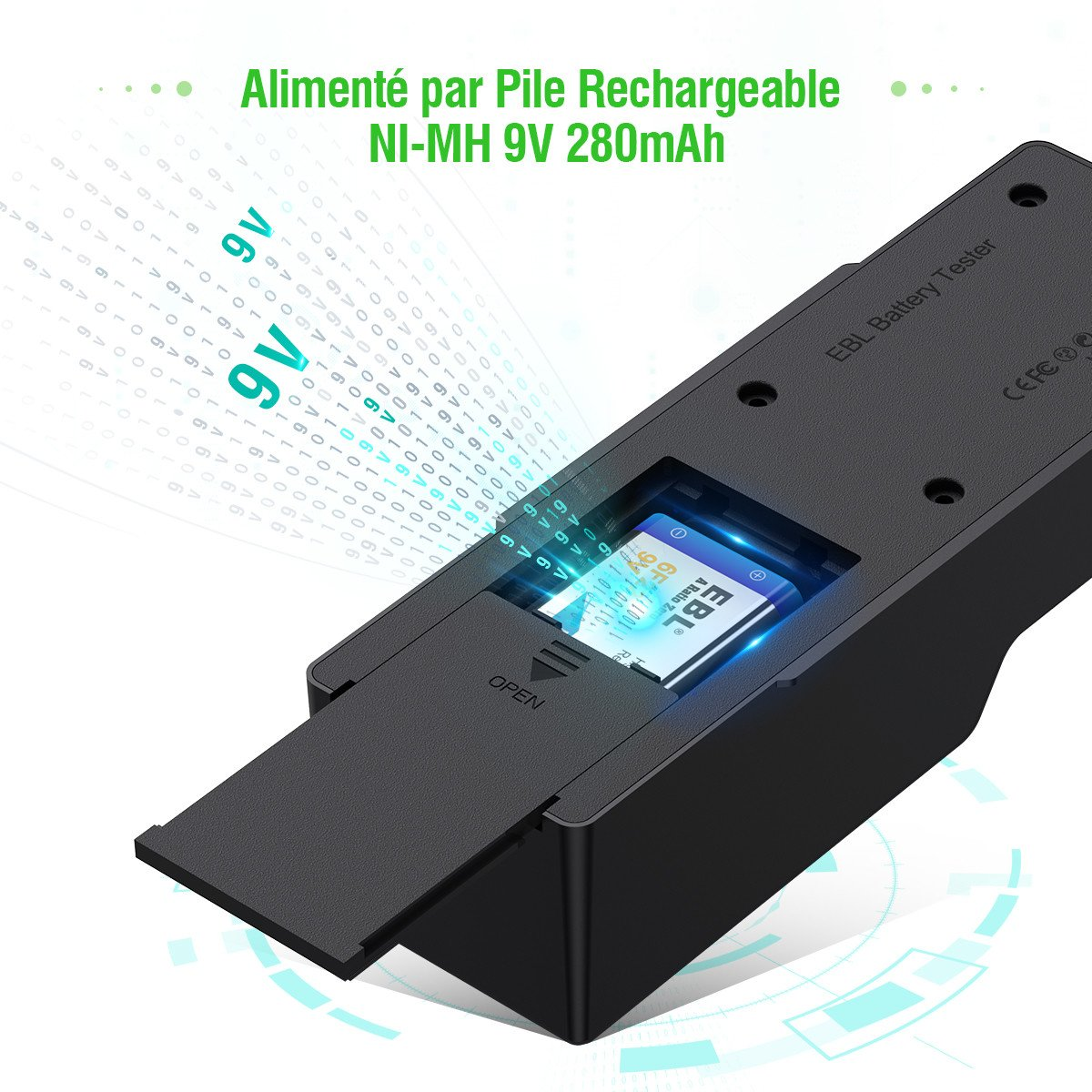 EBL testeur de Pile Universel pour AA AAA 9V Piles de Ni-MH Li-ION Ni-MH Alcaline