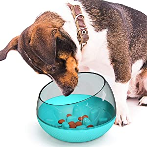 USWT Dog Slower Feeder Bowl, Spill-Proof Pet Tumbler Bowl Large for Fast Eaters