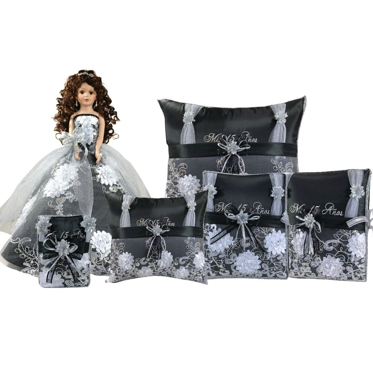 Quinceanera Complete Set Doll Guest Book Kneeling Tiara Pillow Photo Album Bible Q1056 (Add Arch to Doll +English Bible) by Quinceanera