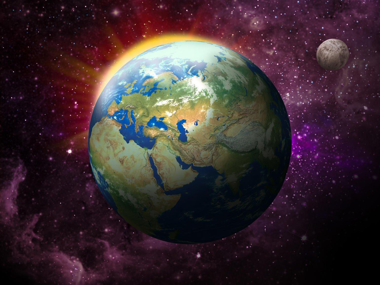 Fototapete Erde, Mond und Sonne XL 350 x 245 cm - 7 Teile Vlies Tapete Wandtapete - Moderne Vliestapete - Wandbilder - Design Wanddeko - Wand Dekoration wandmotiv24