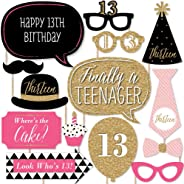 Chic 13th Birthday - Pink, Black and Gold - Photo Booth Props Kit - 20 Count
