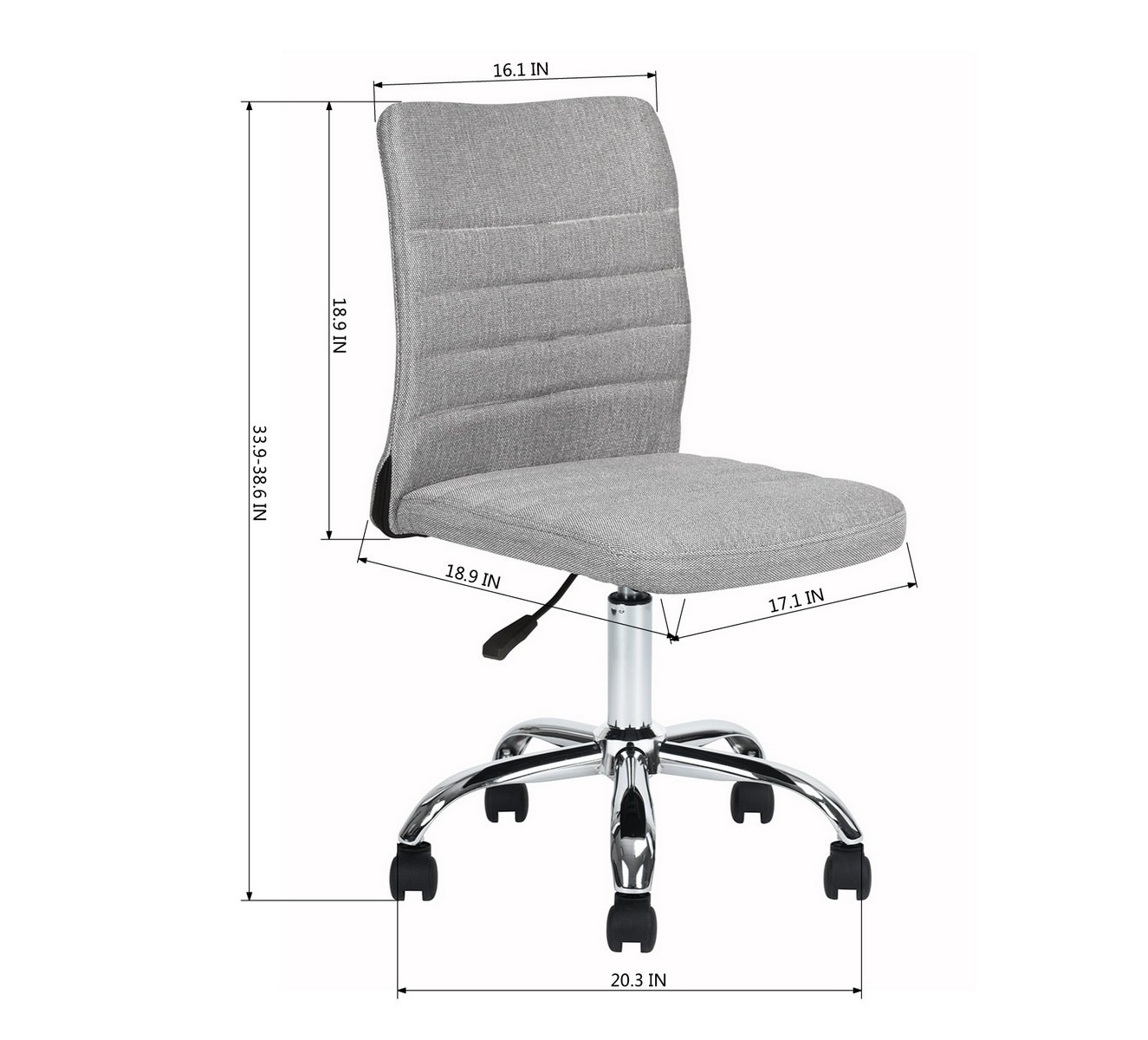 Swell Homy Casa Home Office Chair Grey Fabric Upholstery Mid Back Ergonomic Computer Desk Chair Height Adjustable 360 Degree Swivel Gmtry Best Dining Table And Chair Ideas Images Gmtryco