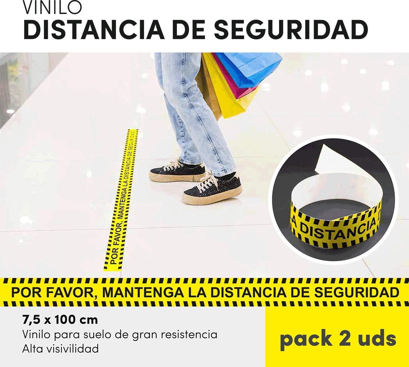 Pack 2 unidades pegatina distancia seguridad autoadhesiva