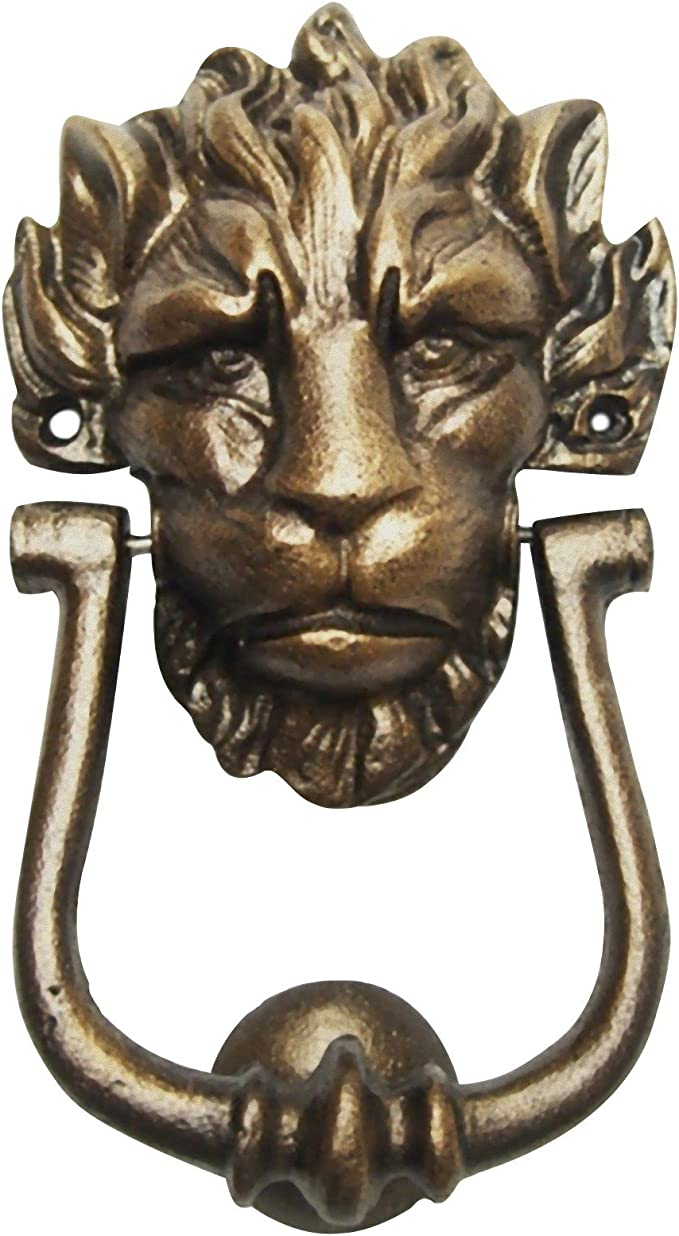 Türklopfer Löwe Löwenkopf Aluminium bronzefarbig Edel Vintage H:33cm