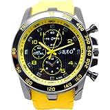 kingko® Männer Armbanduhr Edelstahl Luxus Sport Analog Quarz moderne gelb