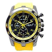Men's Watch Stainless Steel Sport Analogue Quartz Modern Yellow