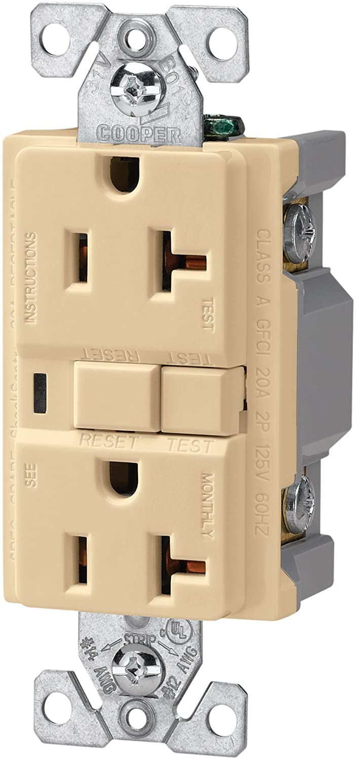 Eaton Vgf20v 20 Amp 2 Pole 3 Wire 125 Volt Duplex Ground Fault Cooper Wiring Devices 20amp 125volt Yellow 3wire Grounding Plug Circuit Interrupter Ivory Outlets