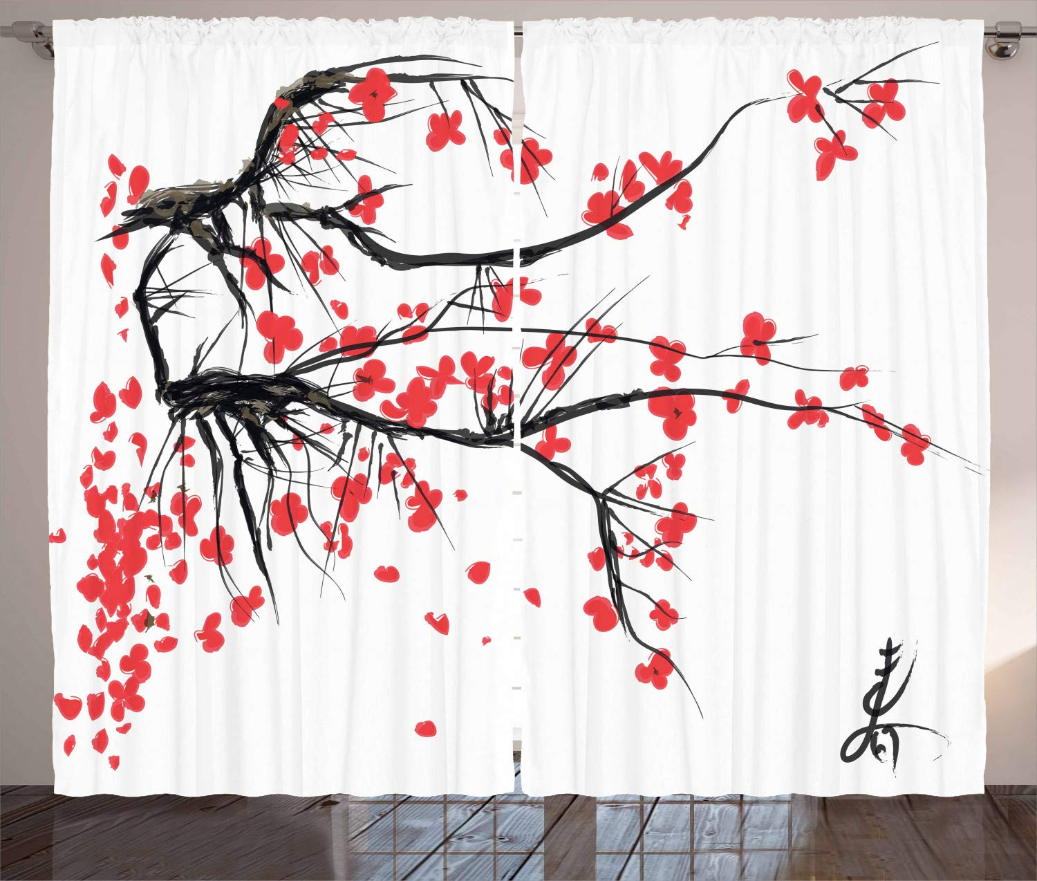 Ambesonne Nature Curtains, Sakura Blossom Japanese Cherry Tree Garden Summertime Vintage Cultural Print, Living Room Bedroom Window Drapes 2 Panel Set, 108 W X 63 L Inches, Grey and Vermilion