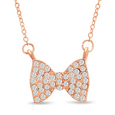 4d55d125589e1 Amazon.com: Swarovski Elements Crystal Bow Necklace In Rose Gold ...