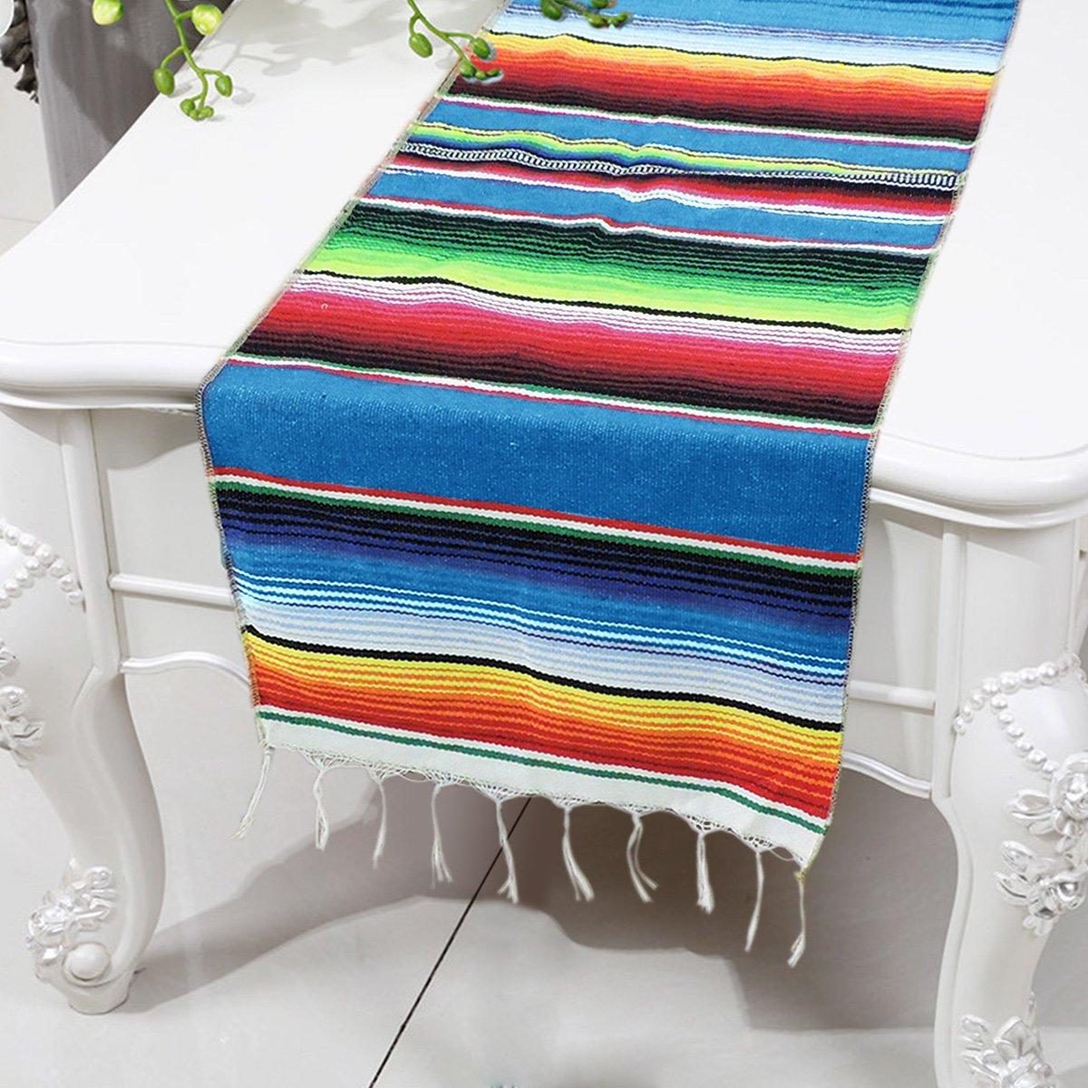 Smurfs Yingda Mexican Serape Table Runner Fringe Cotton Table Runner(Pack of 2, Blue)
