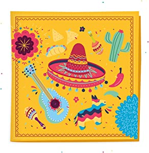 Fiesta Napkins (5'' x 5'' 50 Pack) For Cinco De Mayo, Mexican Cocktail, Birthday Party, Fiesta Dinner, BBQ, Taco Tuesday