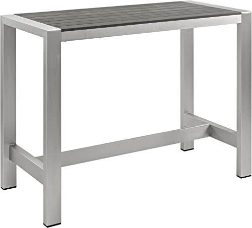 Modway Shore Aluminum Outdoor Patio 60″ Rectangle Bar Table