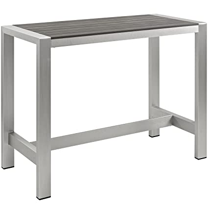Modway Shore Aluminum Outdoor Patio Bar Table In Silver Gray