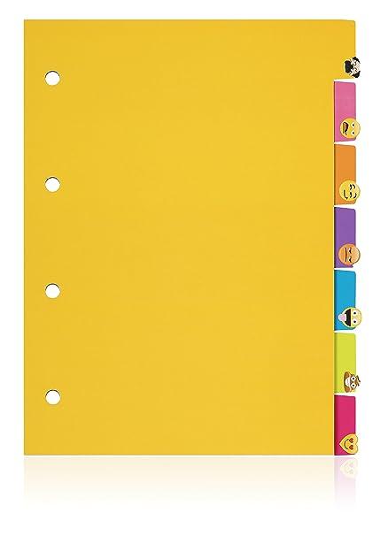NPW Separadores de archivador con emoticonos - Conjunto de 7 separadores de materias de Get Emojinal