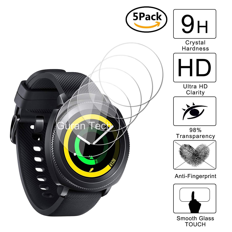 Guran [5-Unidades] Protector de Pantalla Vidrio Cristal Templado para Samsung Gear Sport Smartwatch SM-R600 Cristal Vidrio Templado Film (9H, 2.5D ...