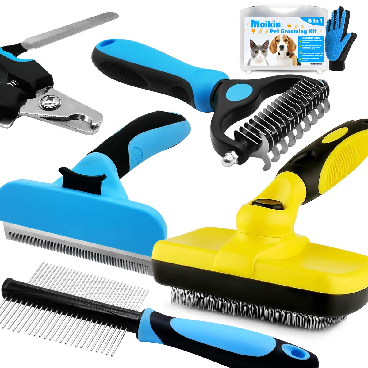 Moikin 7 in 1 Professional Pet Grooming Tool Kit Box - Dog & Cat Self Cleaning Wire Slicker Brush, Nail Clippers & File Trimmer, Deshedding Tool, Dematting Comb, Grooming Comb, Undercoat Rake, Glove
