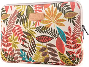 CoolBELL 13.3 Inch Laptop Sleeve Case with Colorful Leaves Pattern Ultrabook Sleeve MacBook Bag for Acer/Asus/Dell/iPad Pro/Lenovo/MacBook Pro/MacBook Air/Surface Pro 4/Women/Men/Teens,White
