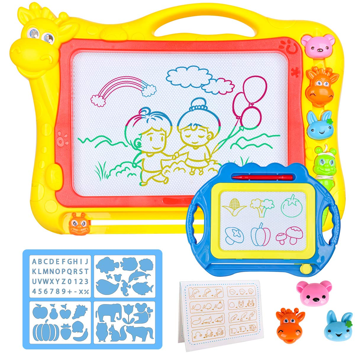 Magnetic Drawing Board for Kids - Large 17Inch Toddler Colorful Magna Doodle Pad with a Travel Size Etch Sketch Writing Board Pro with Magnet Pen, Child Education Learning Toys & Gifts for Boys Girls by Meland