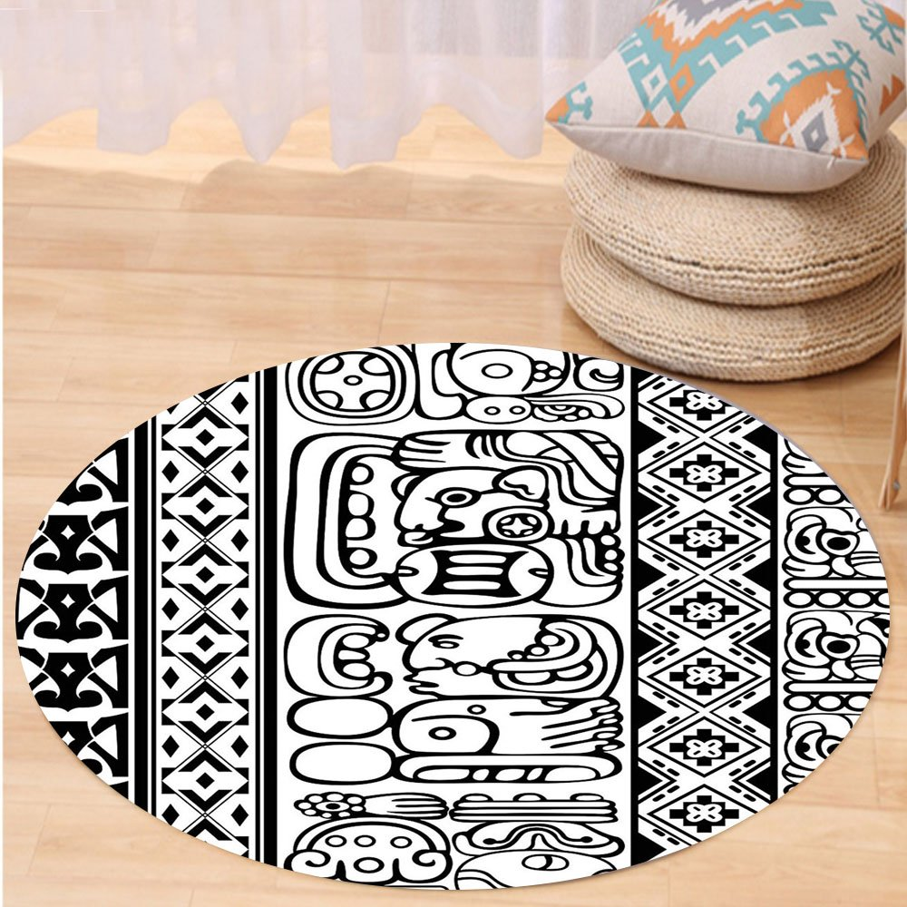 VROSELV Custom carpetTribal Antique Aztec Mayan Folk Abstract with Animal and Geometric Ethnic Pattern for Bedroom Living Room Dorm Black White Round 79 inches
