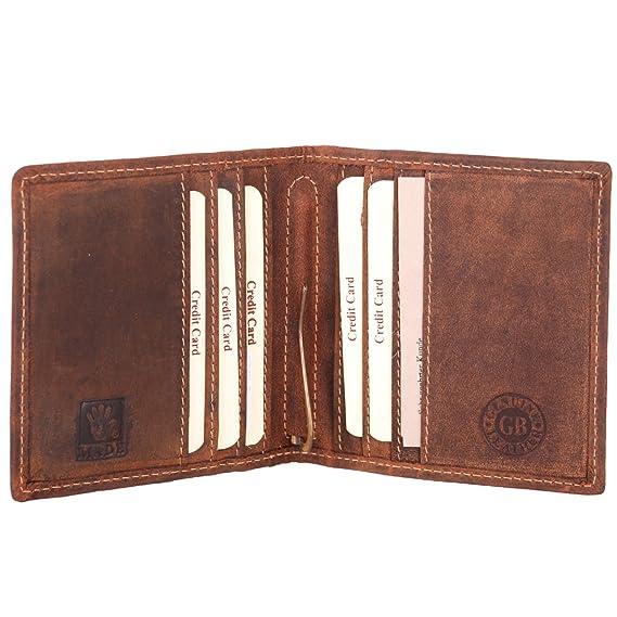 Leder Dollarclip Geldbeutel Geldbörse mit Klammer braun Greenburry Vintage