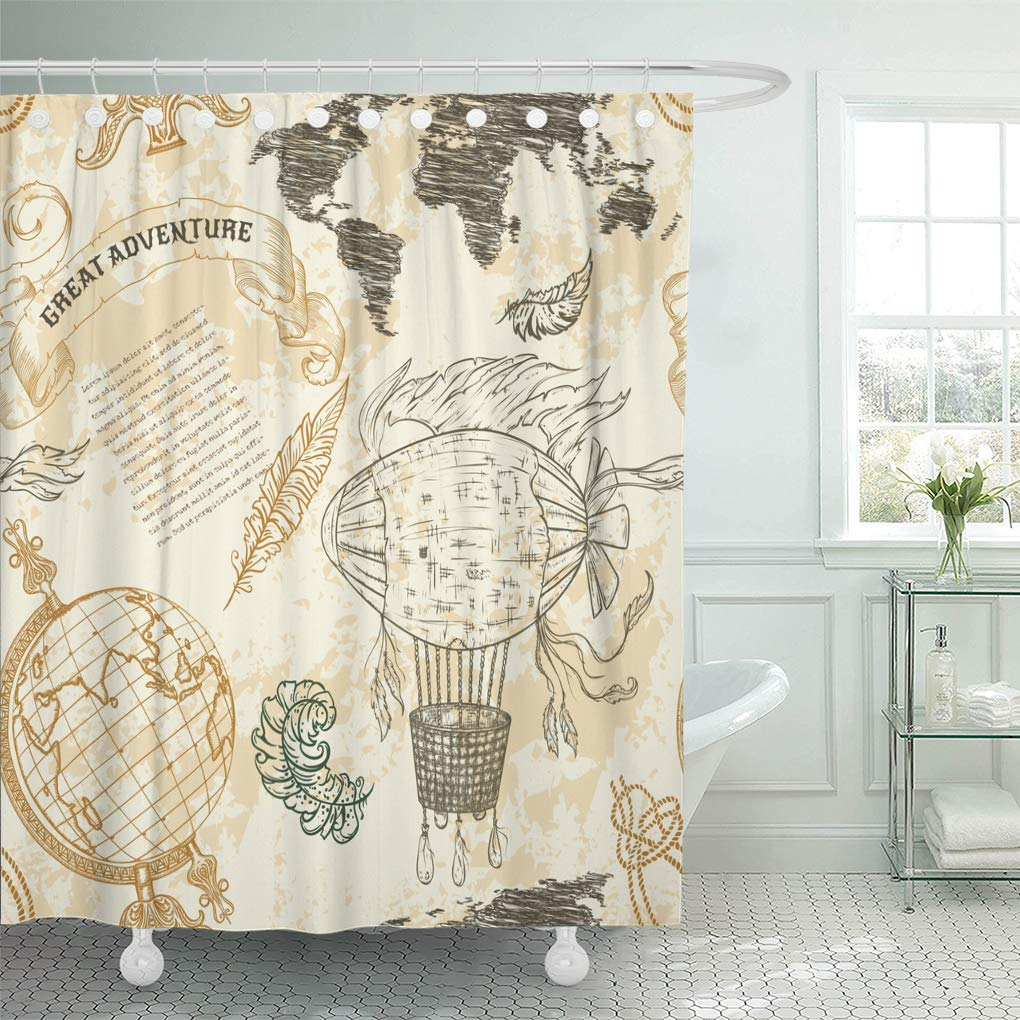 Amazon Emvency Shower Curtain Vintage Globe Abstract World Map