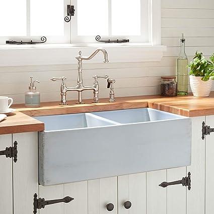 Signature Hardware 431975 Paola 33  Farmhouse Double Basin Fireclay Kitchen Sink - - Amazon.com & Signature Hardware 431975 Paola 33