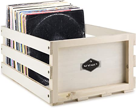AUNA Nostalgie Record Box WD Caja para Discos de Vinilo (Capacidad de 75 LPs, Fuerte y Resistente a Golpes, Adecuada ...
