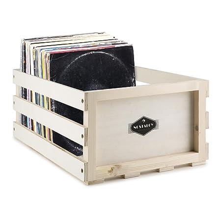 AUNA Nostalgie Record Box WD Caja para Discos de Vinilo (Capacidad de 75 LPs, Fuerte y Resistente a Golpes, Adecuada para Discos de 12