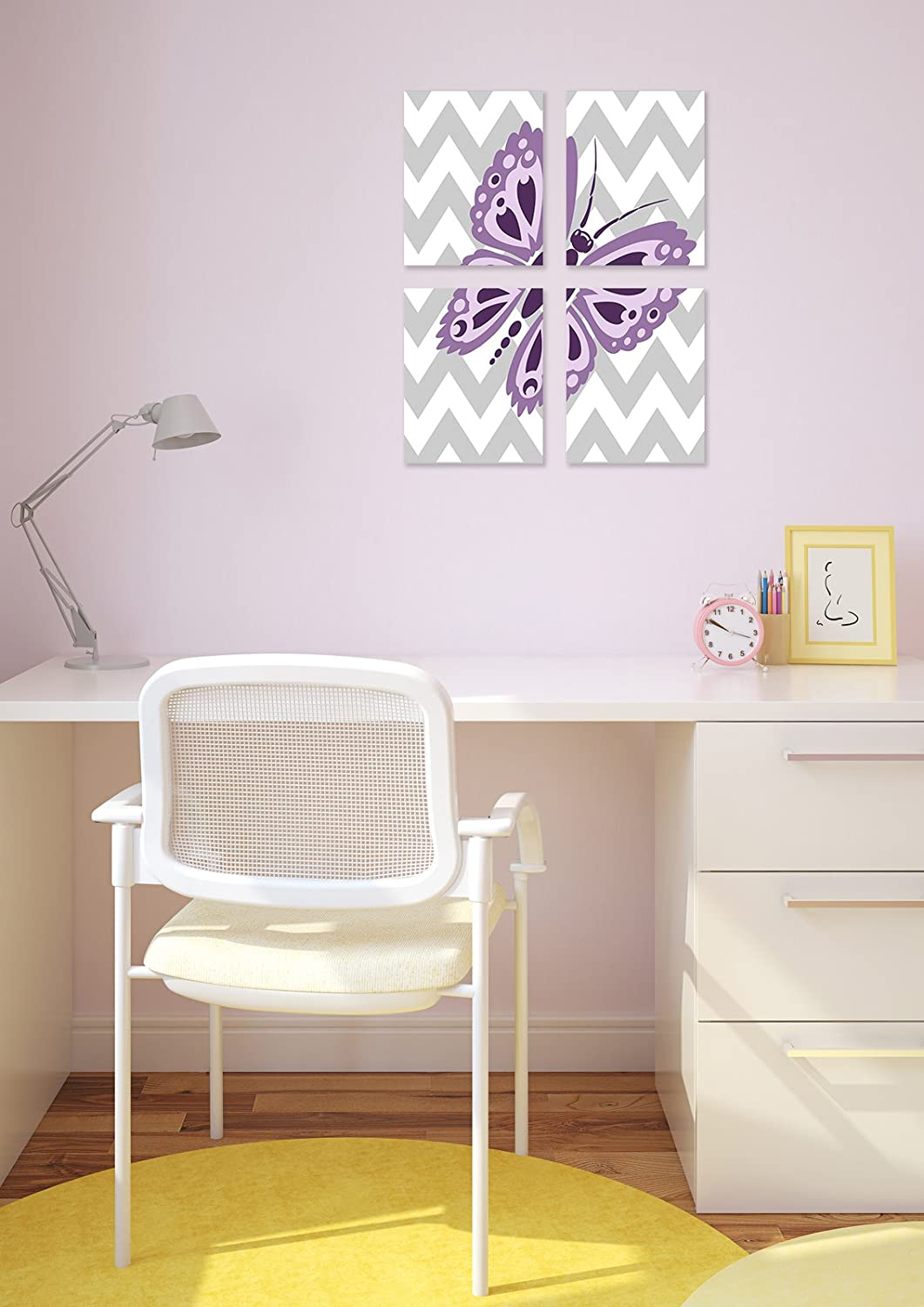 The Kids Room By Stupell Purple Butterfly On Grey And White Chevron 4-Pc Proudly Made in USA Rectangle Wall Plaque Set