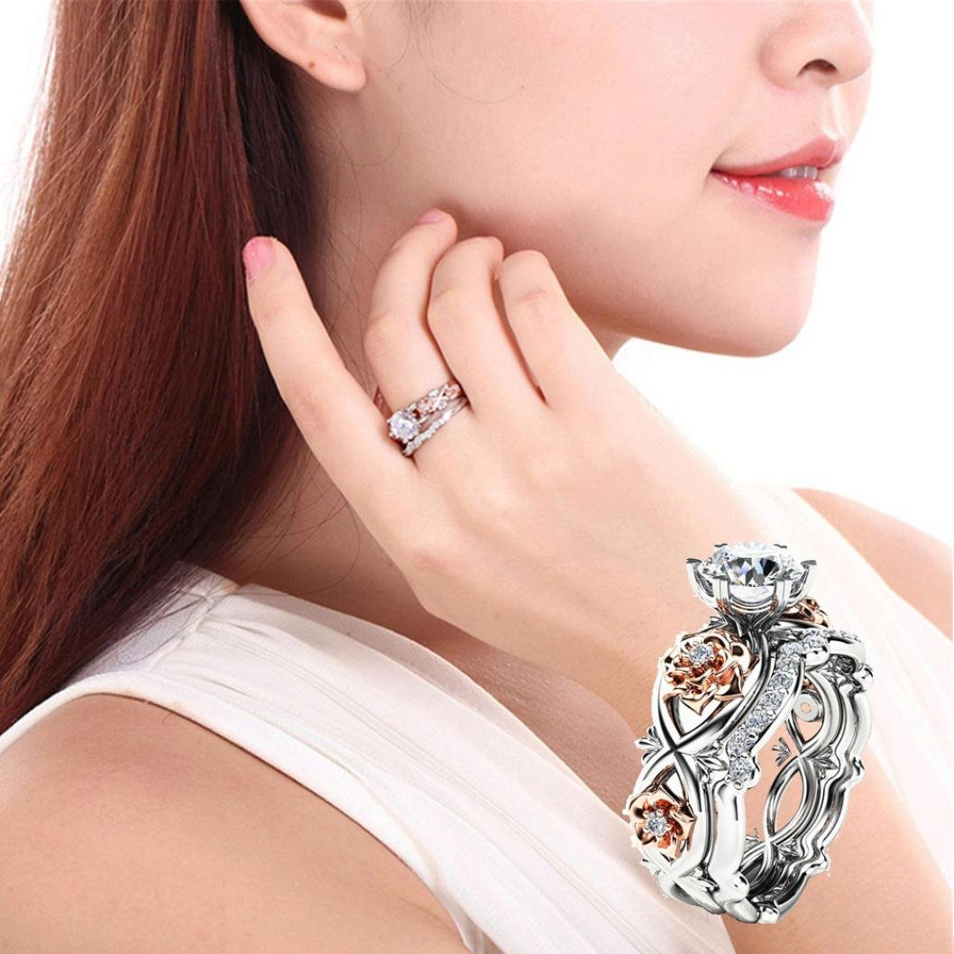 New Floral Hollow Out Zircon Ring Women Fashion Two Tone White Sapphire Wedding Engagement Ring Set Joopee