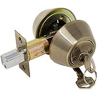 Cerrojo Maxtool Doble Cilindro con 5 pernos de combinación de Latón Antiguo incluye 2 llaves