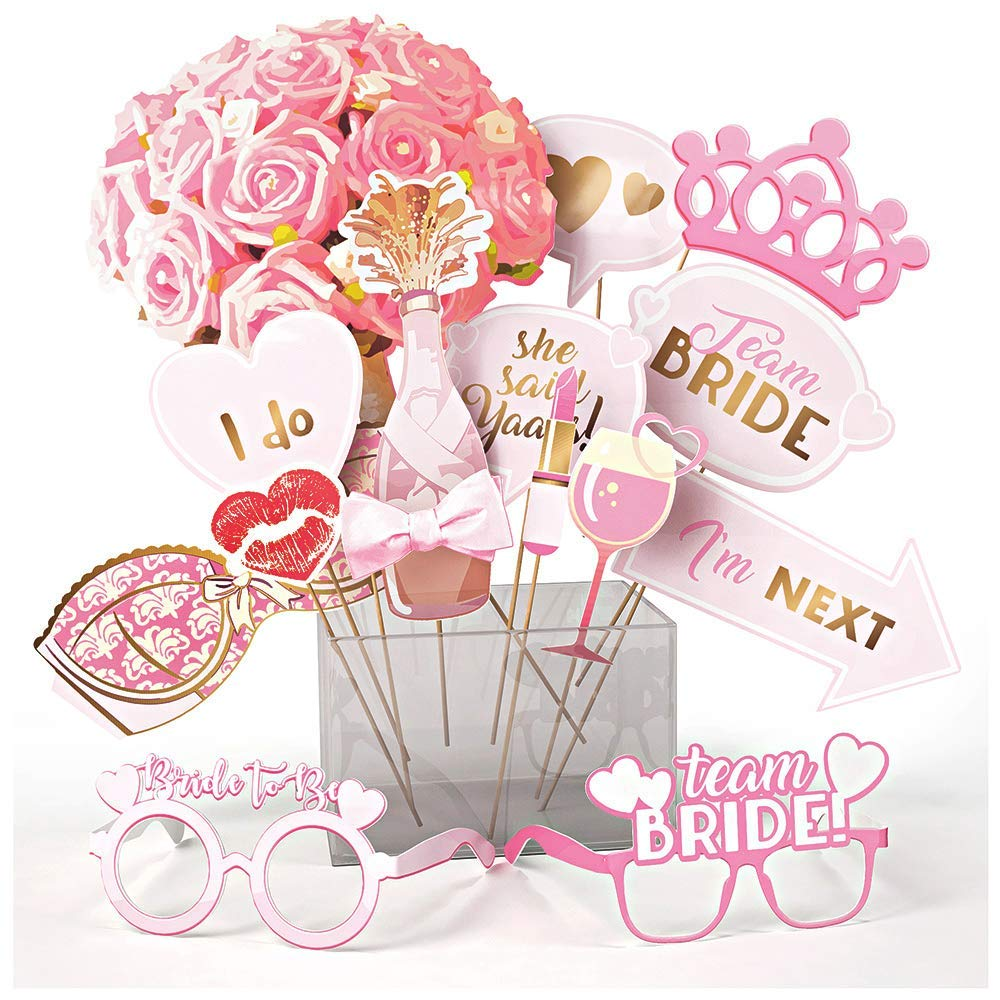 Bachelorette and Bridal Shower Decorations and Photo Booth Props, Hen Party Supplies Kit for Women with Assorted Designs and Sticks, Best for Engagement Pictures and Selfies, Fun Signs for Bride To Be