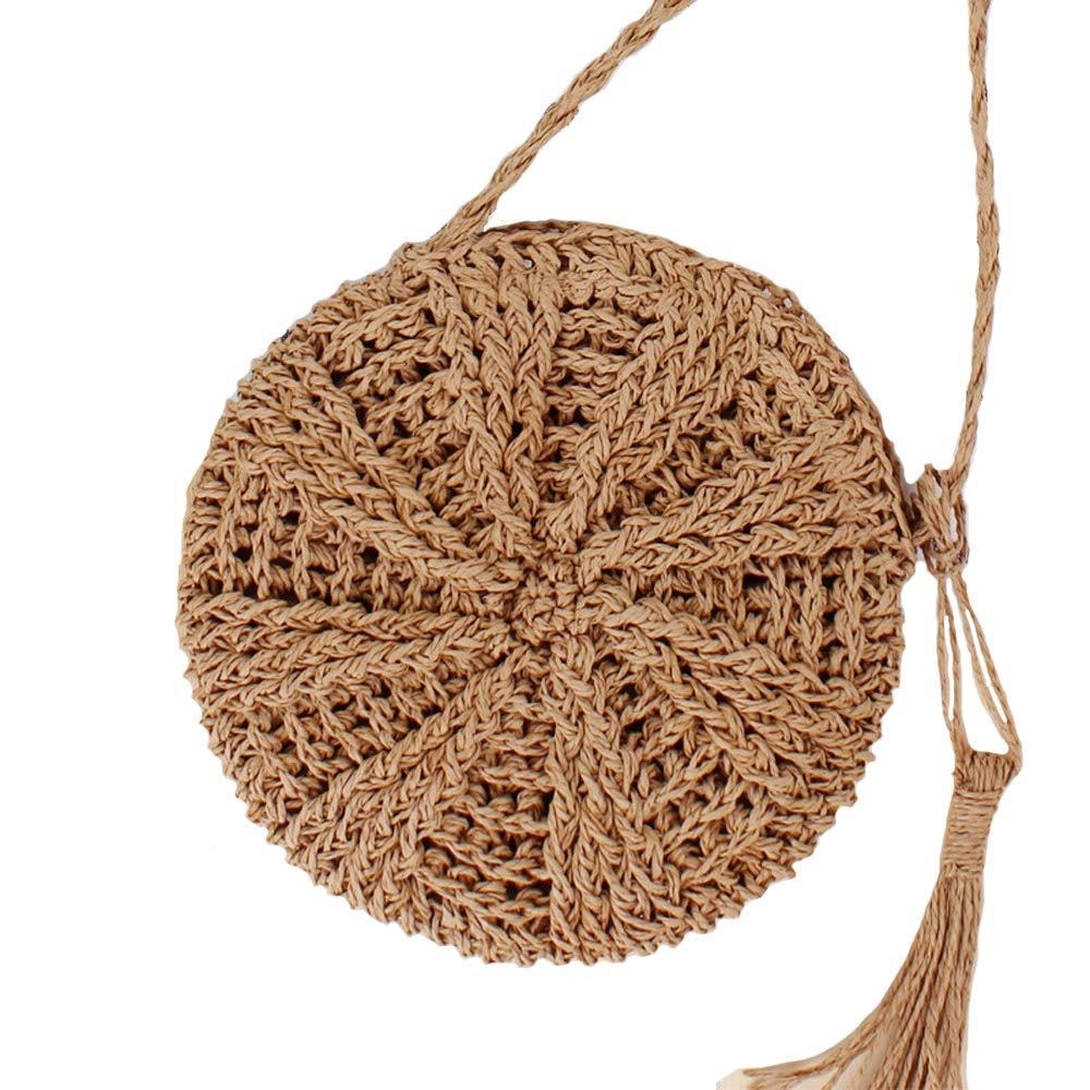 Teeya Straw Crossbody Bag Women Weave Shoulder Bag Round Summer Beach Purse and Handbags, Small Brown, Medium by Teeya (Image #1)