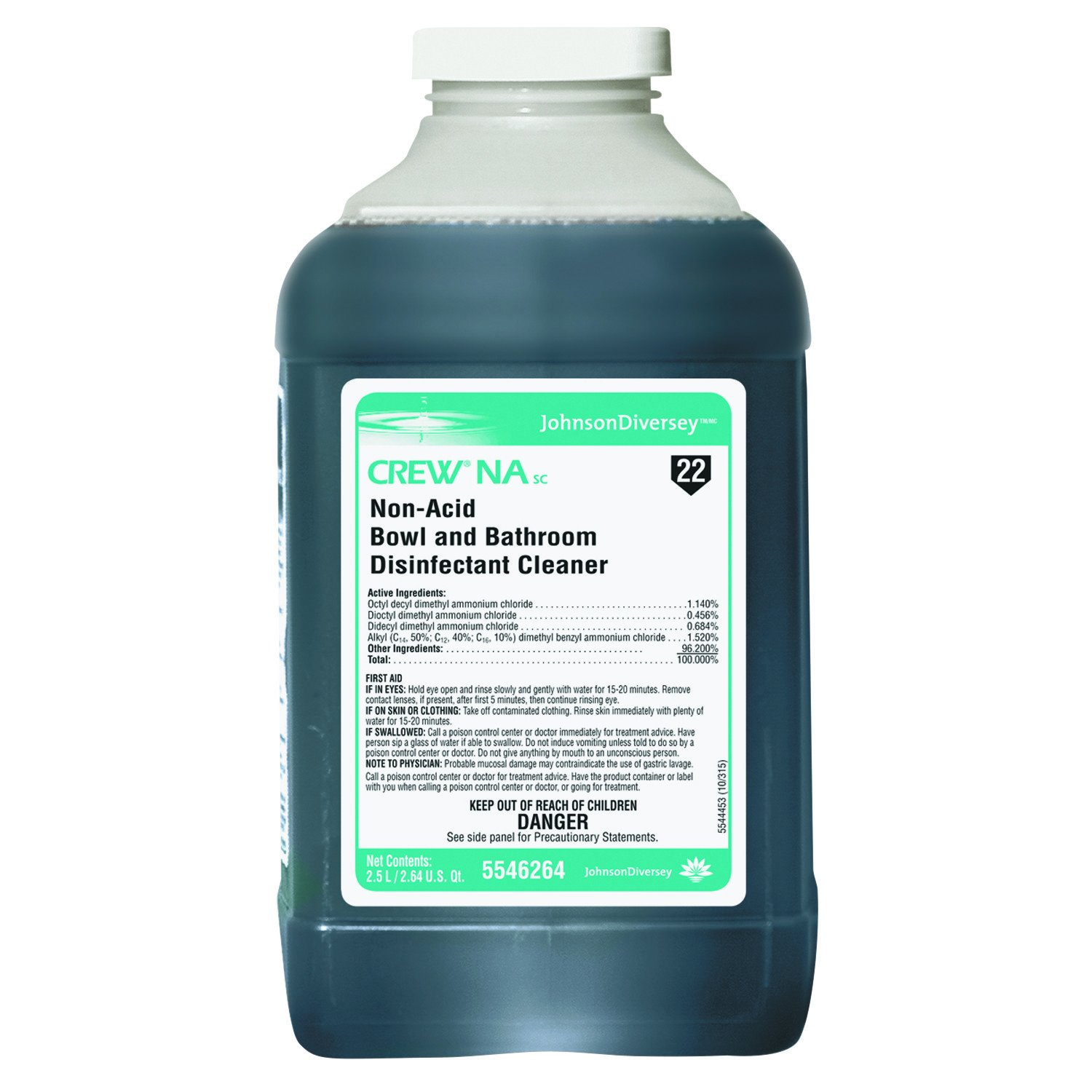 Diversey 5546264 Crew Non-Acid Bowl and Bathroom Cleaner, 2.5L (Case of 2)