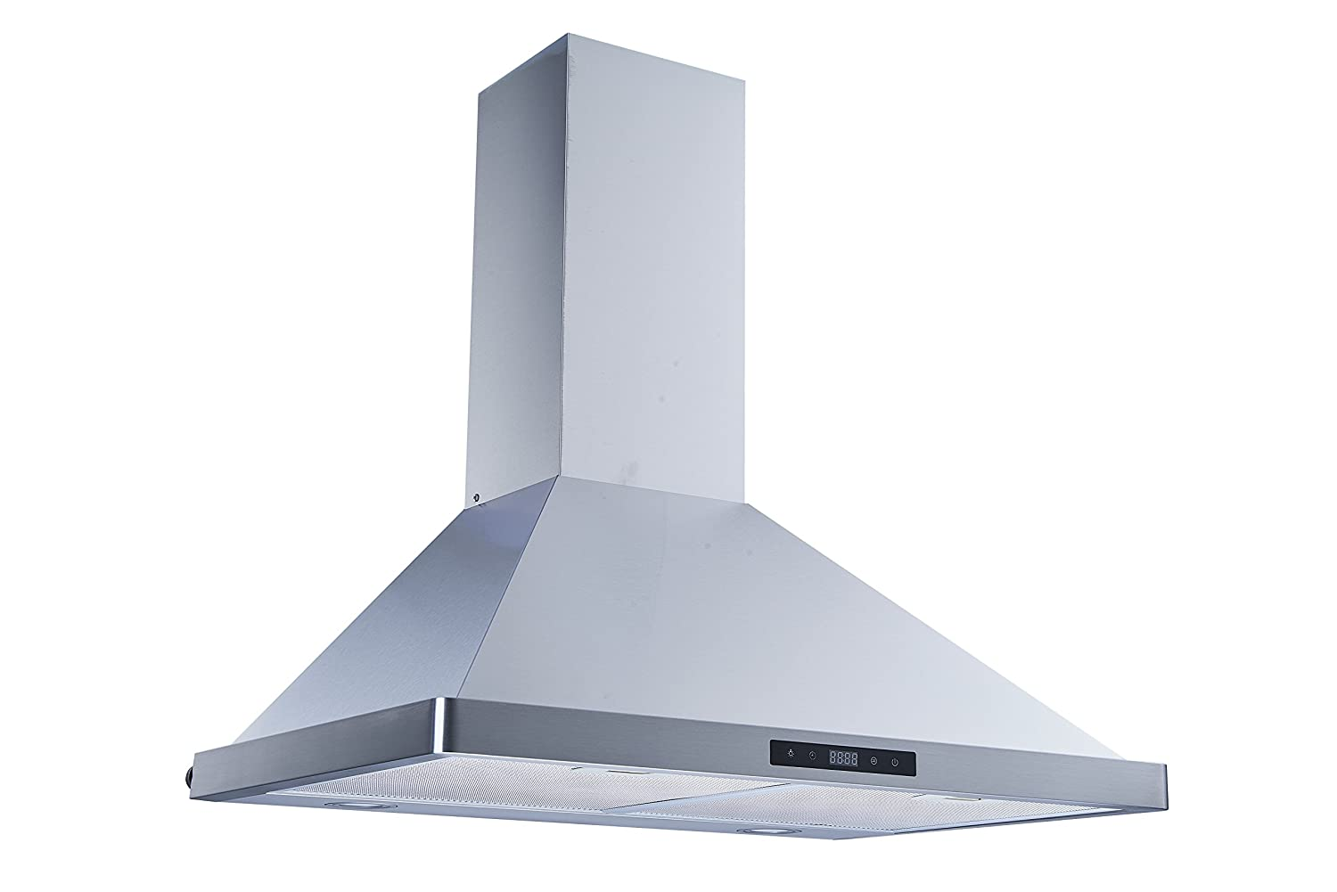Winflo 30 Wall Mount Stainless Steel Convertible Kitchen Range Hood with 450 CFM Air Flow Aluminum Filters and LED Lights Touch Control