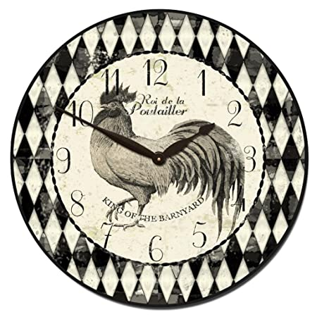 Black Cream Rooster Wall Clock, Available in 8 Sizes, Most Sizes Ship 2-3 Days, Whisper Quiet.