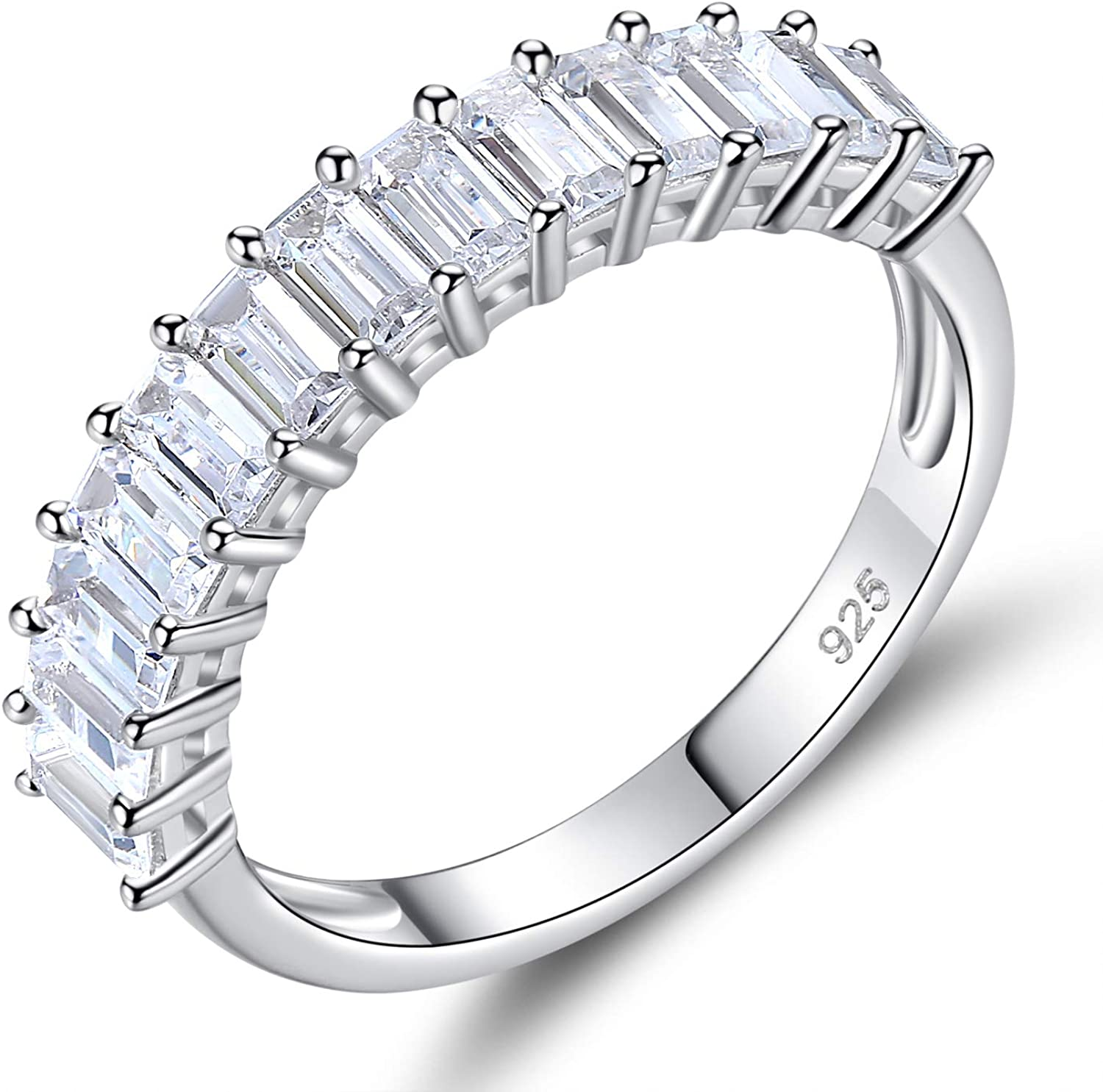 Newshe Eternity Rings for Women Engagement Wedding Bands Sterling Silver 1.3Ct Cz Emerald Size 5-10