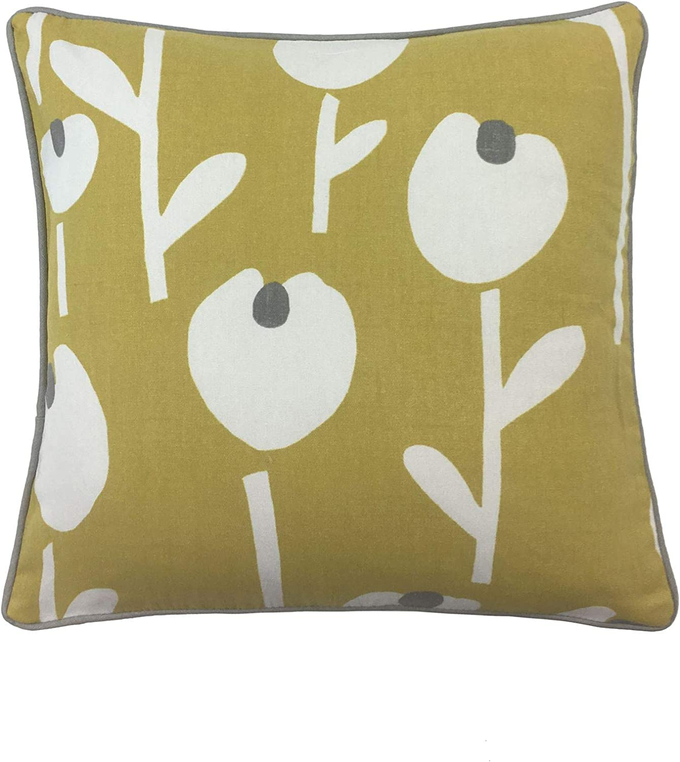 """2 X FLOWER SILHOUETTE PATTERNED GREY WHITE PIPED 17/"""" 43CM CUSHION COVERS"""