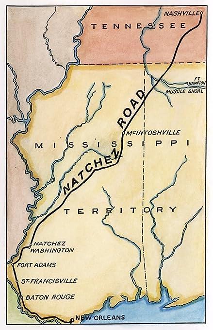 Amazon Com Natchez Trace 1816 Nmap Of The Natchez Road Constructed