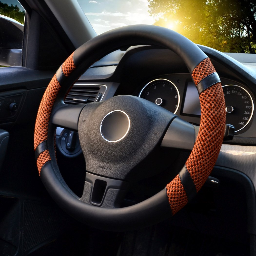 LucaSng Universal Steering Wheel Cover,14.56-14.96 PU Leather for fit Summer Honda//Toyota Car Vehicle Gray,M