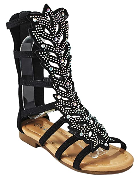 661937fe JJF Shoes - Sandalias Planas Cómodas con Piel de Becerro de Tiras de Estilo  Gladiador con